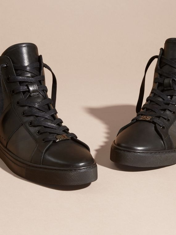 London Check and Leather High-Top Trainers in Smoked Chocolate - Men | Burberry - cell image 2