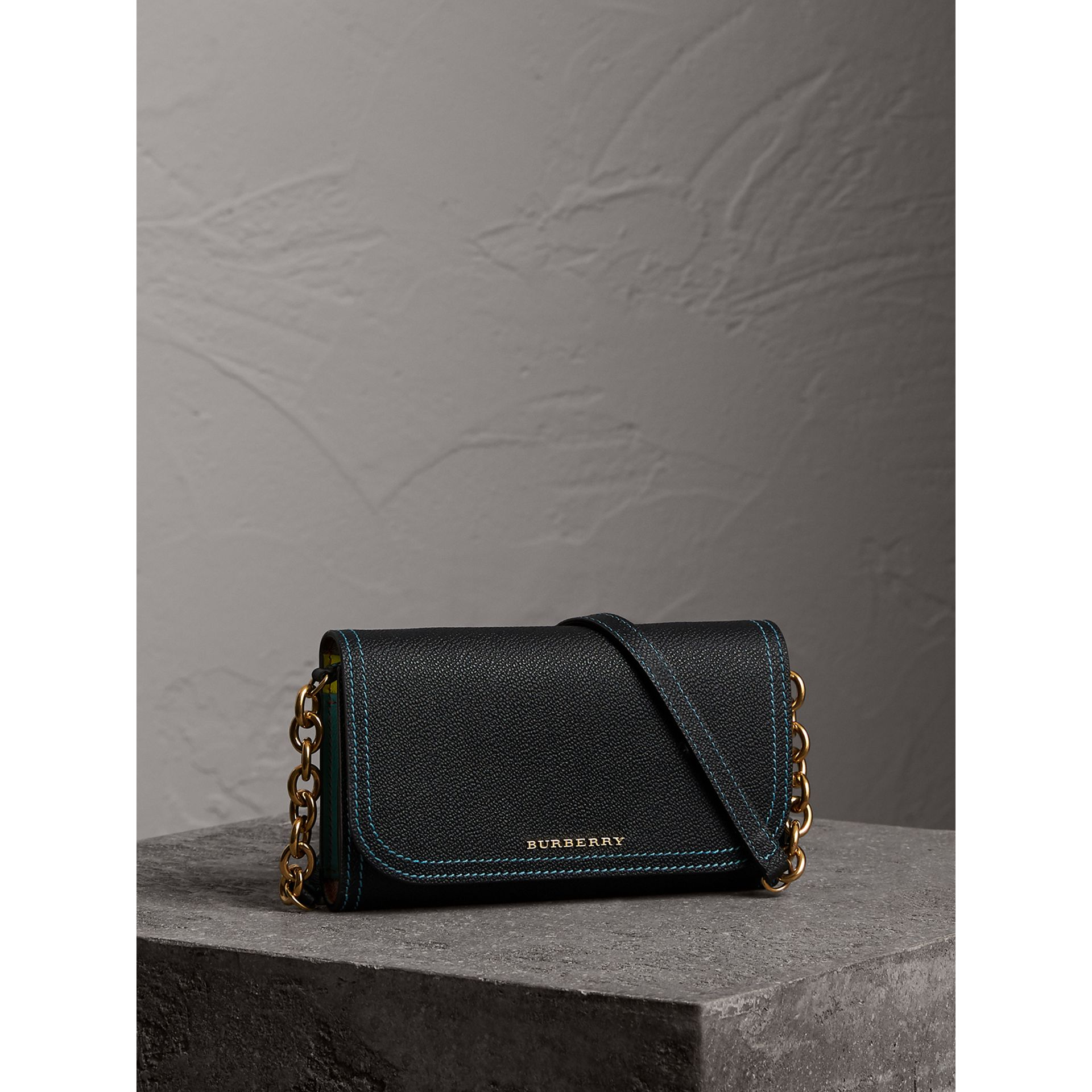 Topstitch Detail Leather Wallet with Detachable Strap in Black/multicolour - Women | Burberry Australia - gallery image 1