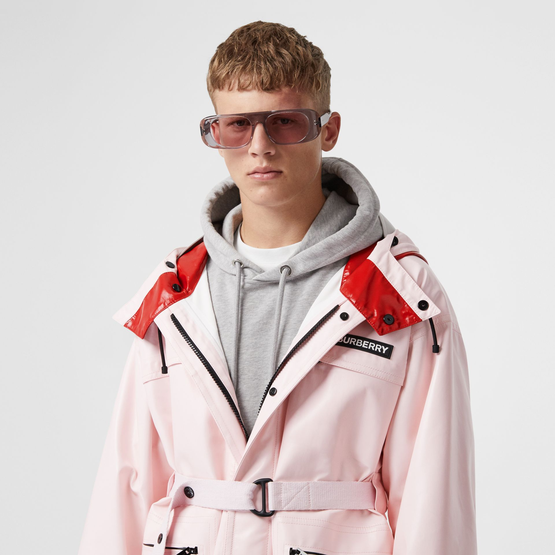 Cut-out Hem Two-tone Coated Nylon Parka in Pale Pink - Men | Burberry - gallery image 1