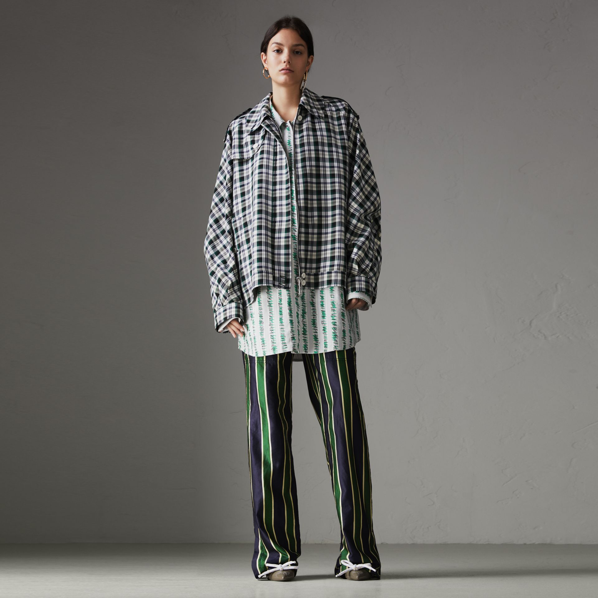 Check Oversized Harrington Jacket in Dark Forest Green - Women | Burberry Singapore - gallery image 0