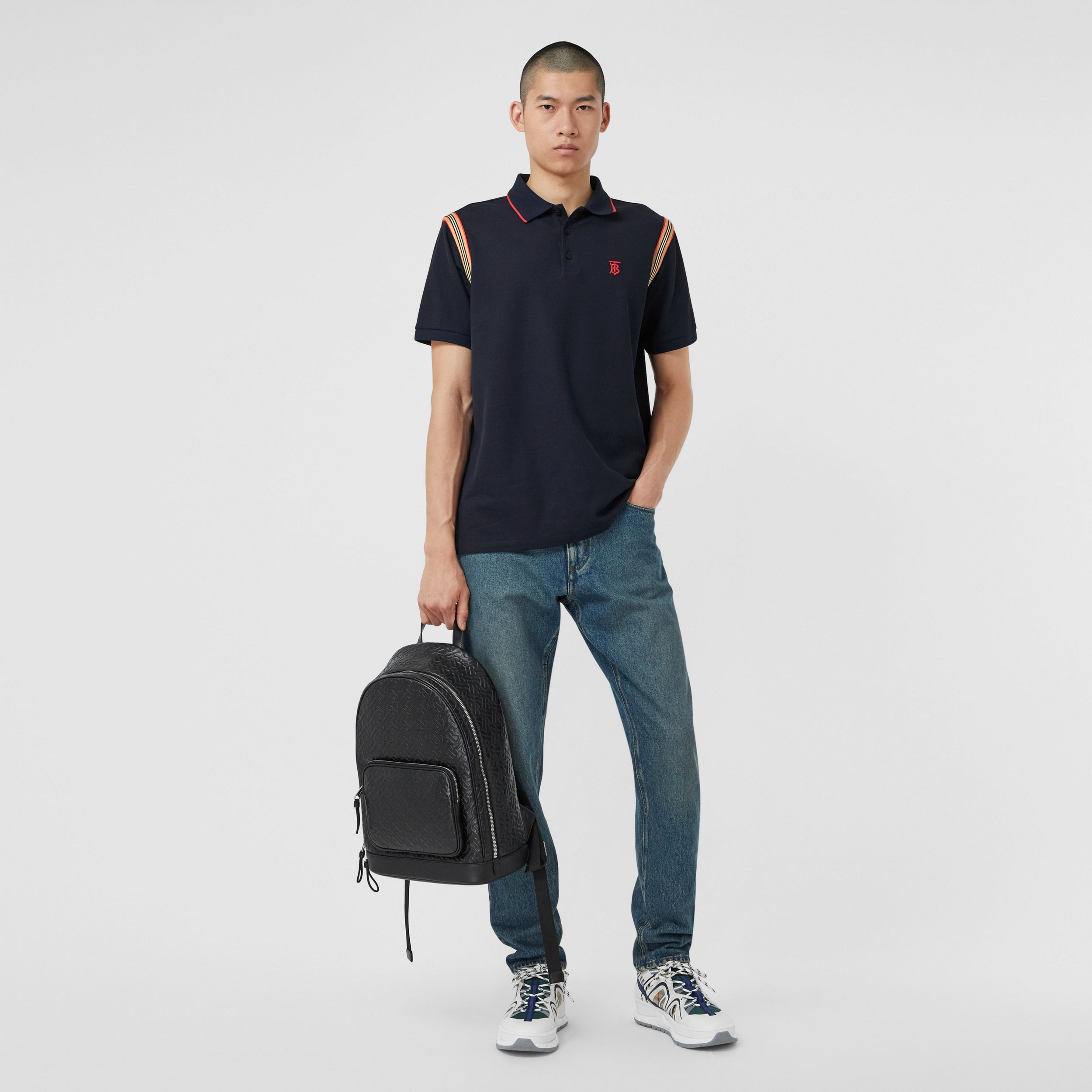 Icon Stripe Trim Monogram Motif Cotton Polo Shirt in Navy - Men | Burberry Australia - 1