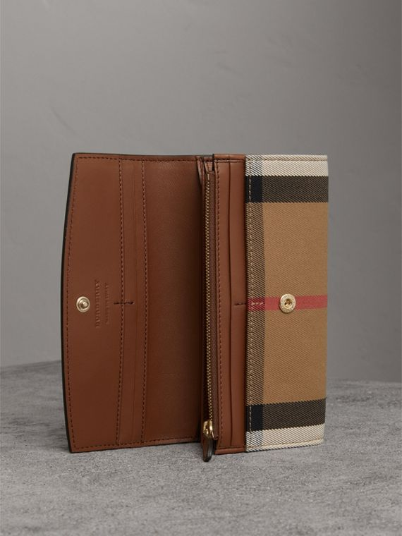 House Check And Leather Continental Wallet in Tan - Women | Burberry United Kingdom - cell image 3