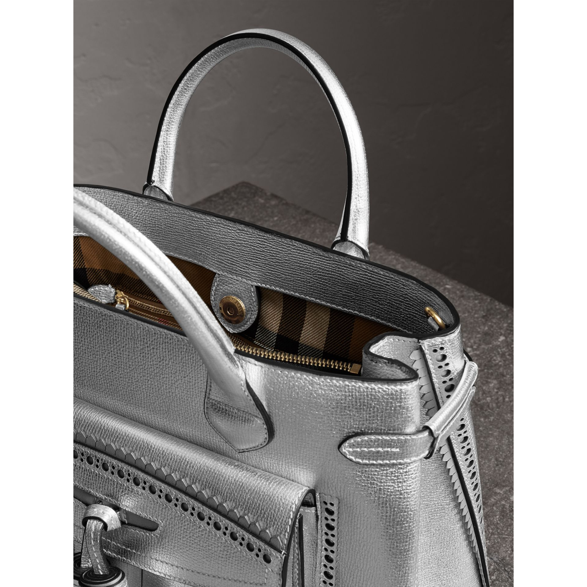 The Medium Banner in Metallic Leather with Brogue Detail in Silver - Women | Burberry Australia - gallery image 5