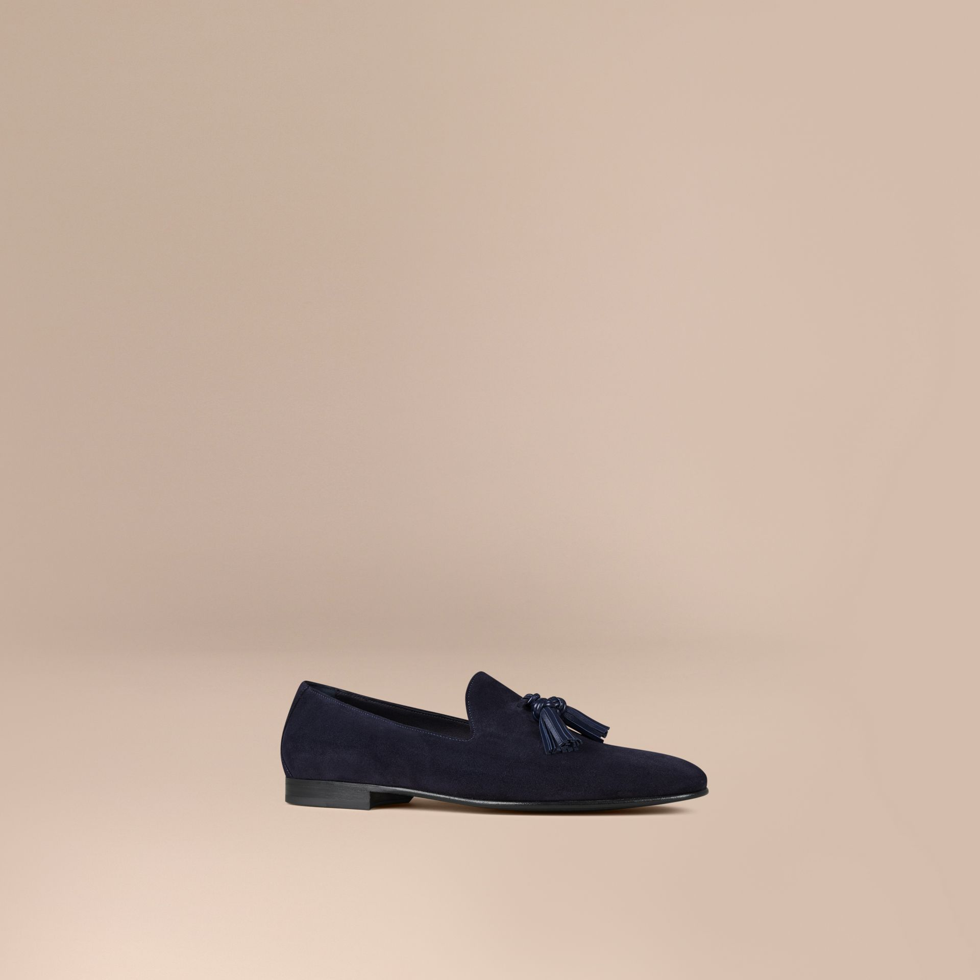 Midnight blue/navy Whole-cut Suede Tassel Loafers Midnight Blue/navy - gallery image 1