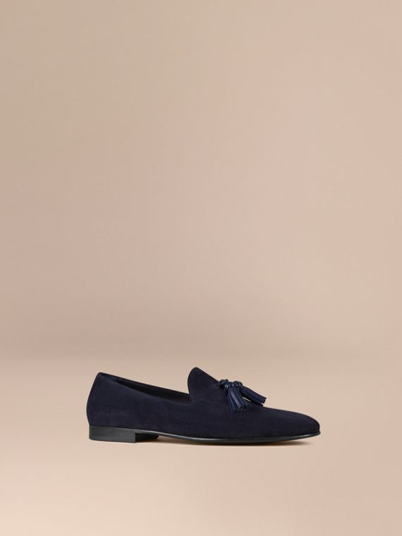 Whole-cut Suede Tassel Loafers Midnight Blue/navy