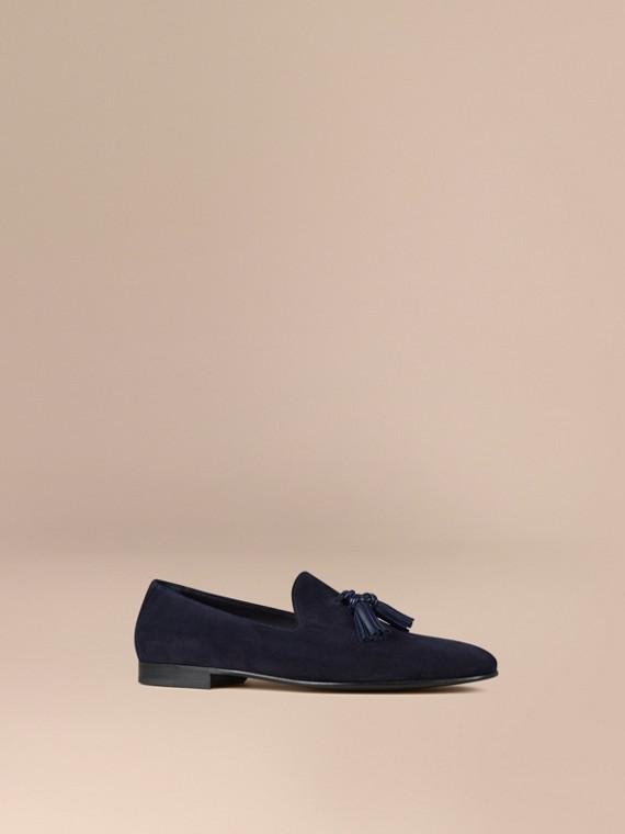Loafers de camurça sem costuras com detalhe de borla Midnight Blue/azul Marinho