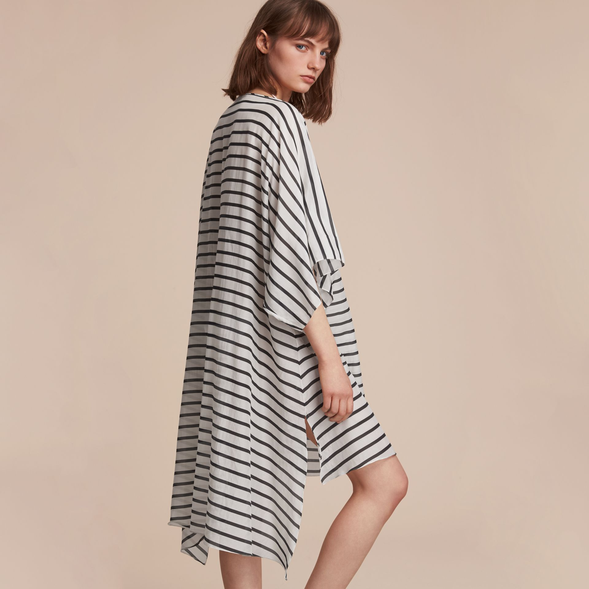 Striped Cotton Silk Kaftan in Navy - Women | Burberry - gallery image 3