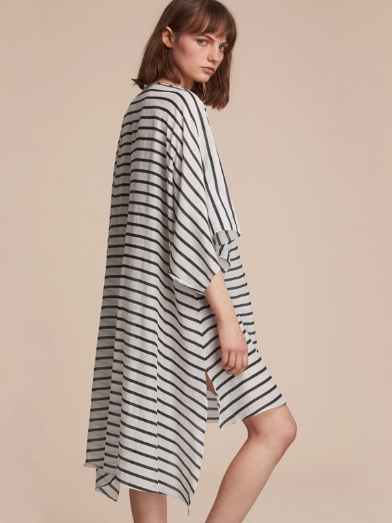 Striped Cotton Silk Kaftan in Navy - Women | Burberry - cell image 2