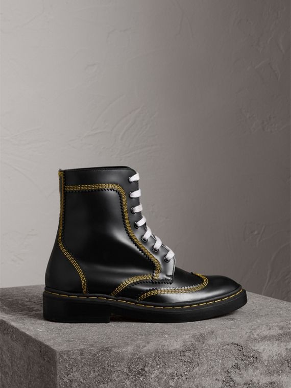 Topstitch Leather Lace-up Boots in Black