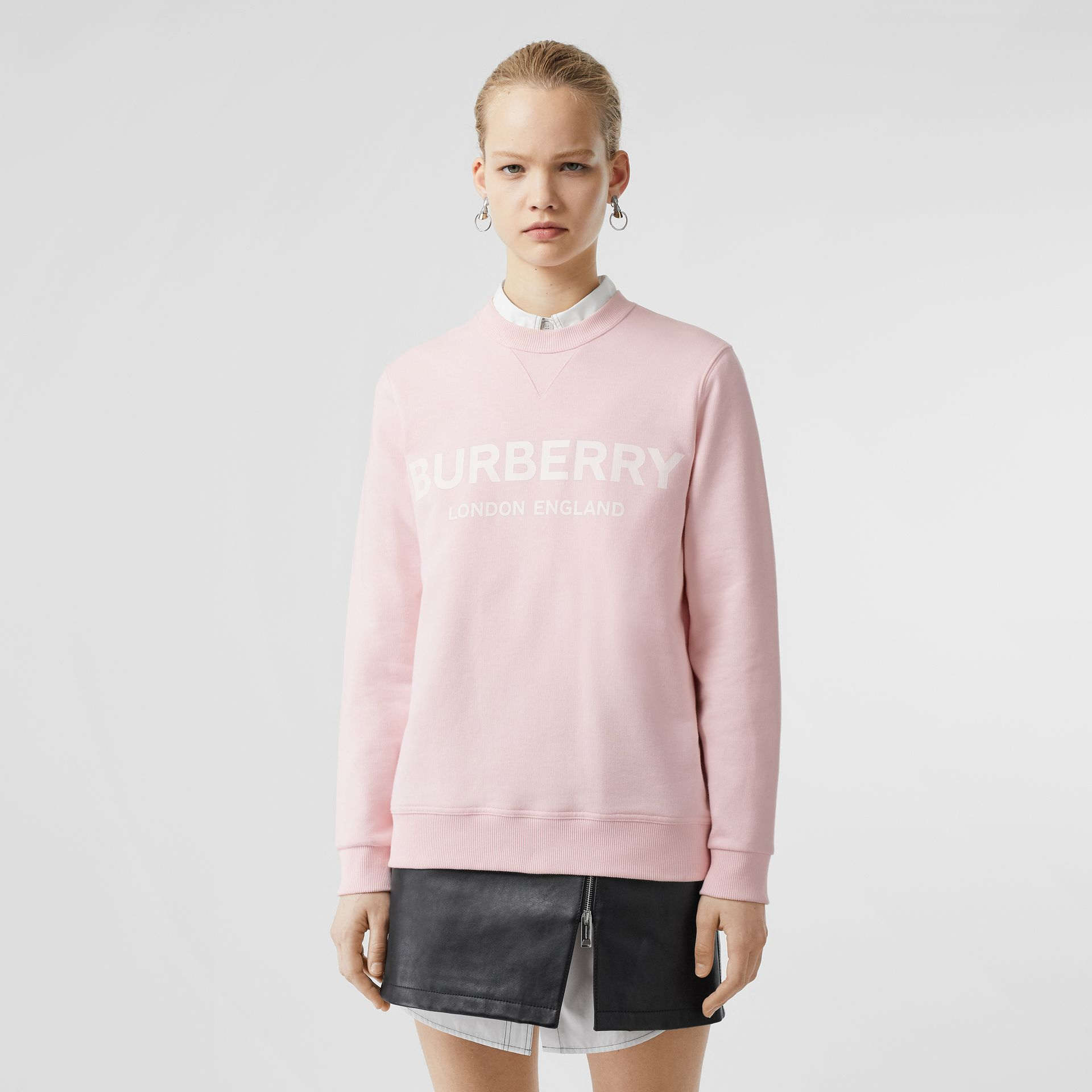 Logo Print Cotton Sweatshirt in Alabaster Pink - Women | Burberry - gallery image 4