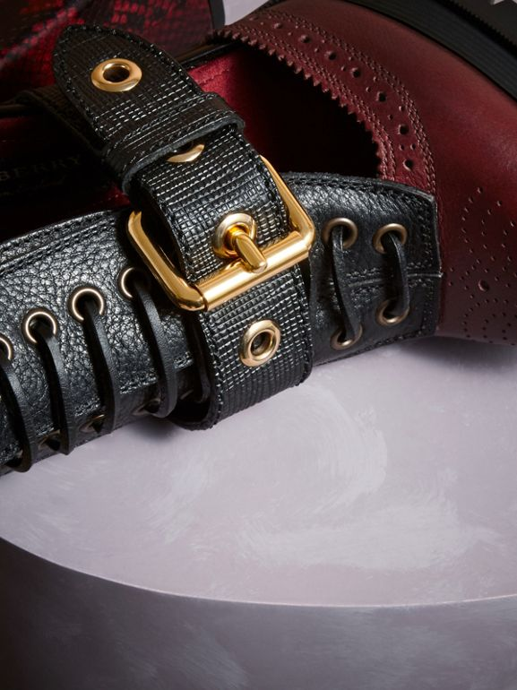Leather and Snakeskin Cut-out Platform Boots in Burgundy Red | Burberry United States - cell image 1