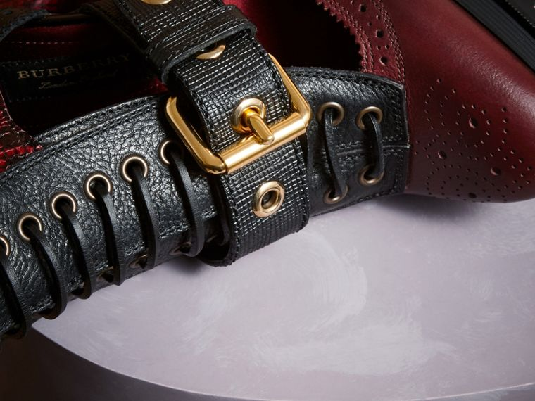 Burgundy red Leather and Snakeskin Cut-out Platform Boots Burgundy Red - cell image 1