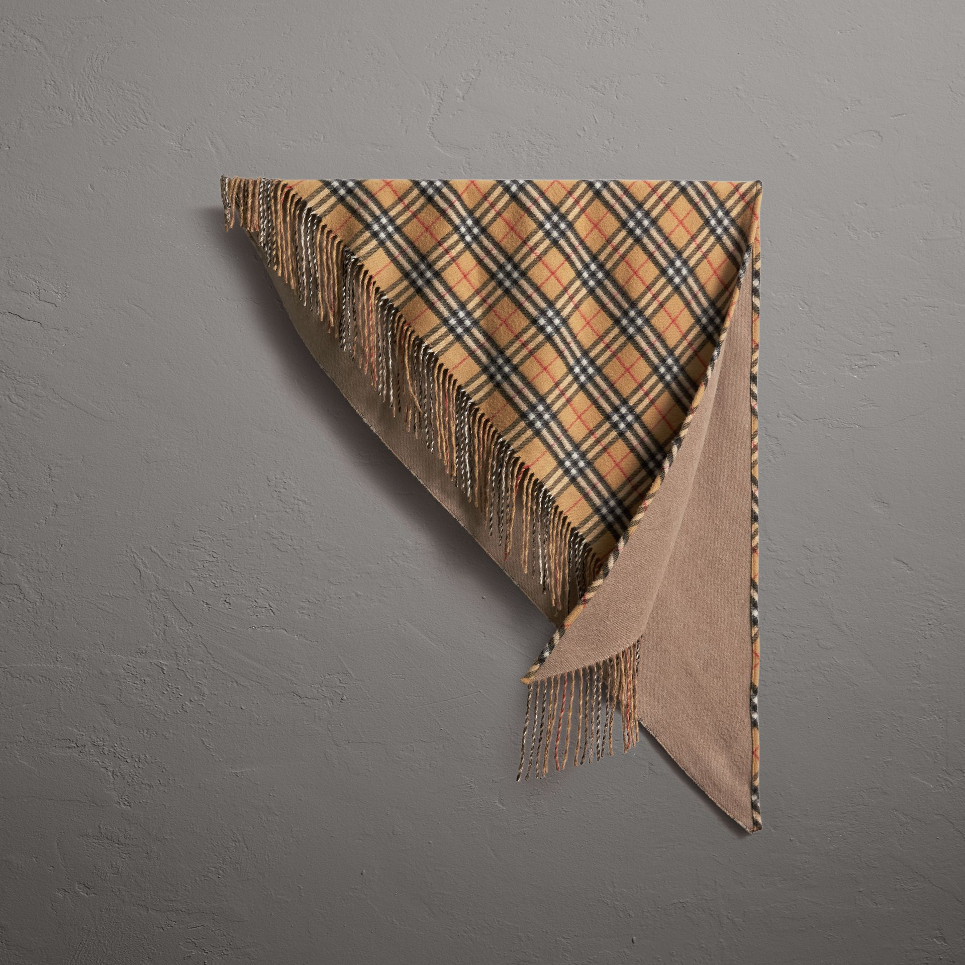 The Burberry Bandana in Vintage Check Cashmere in Sandstone | Burberry United States - gallery image 0