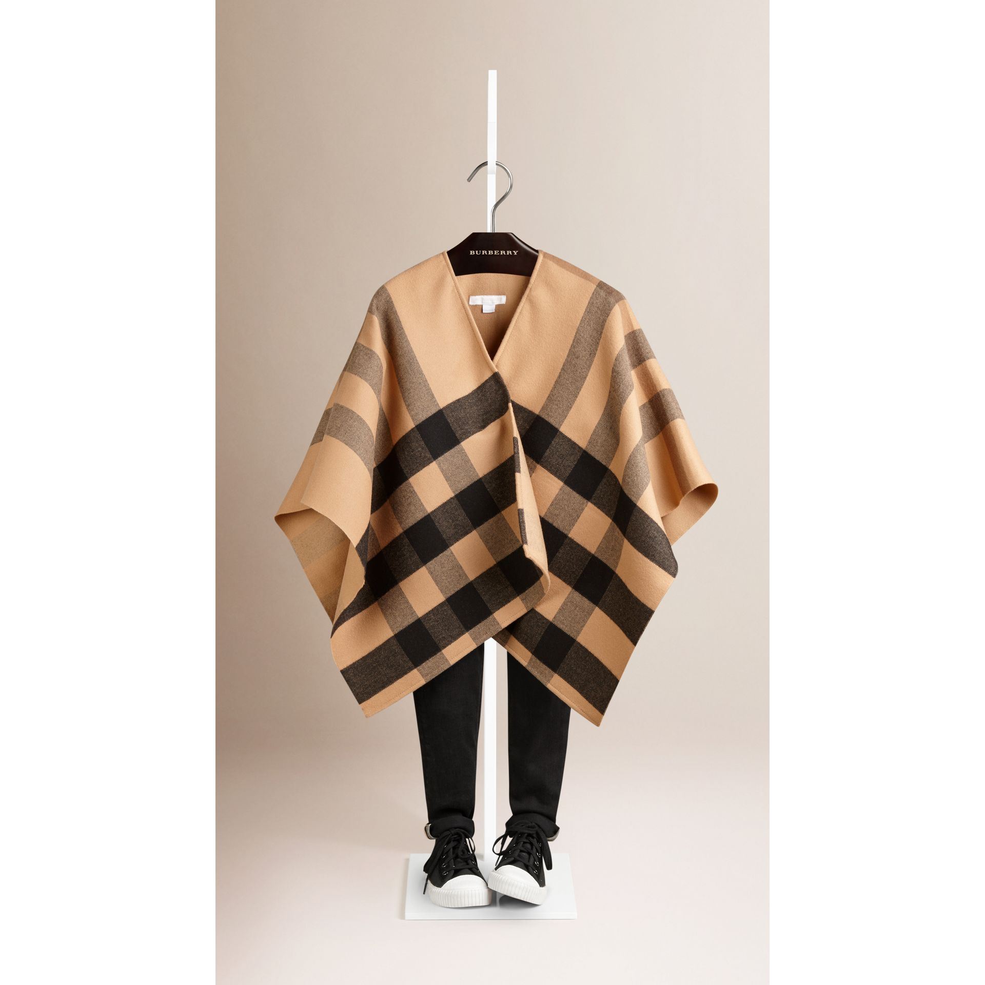 Check Wool Cape in Camel - gallery image 1