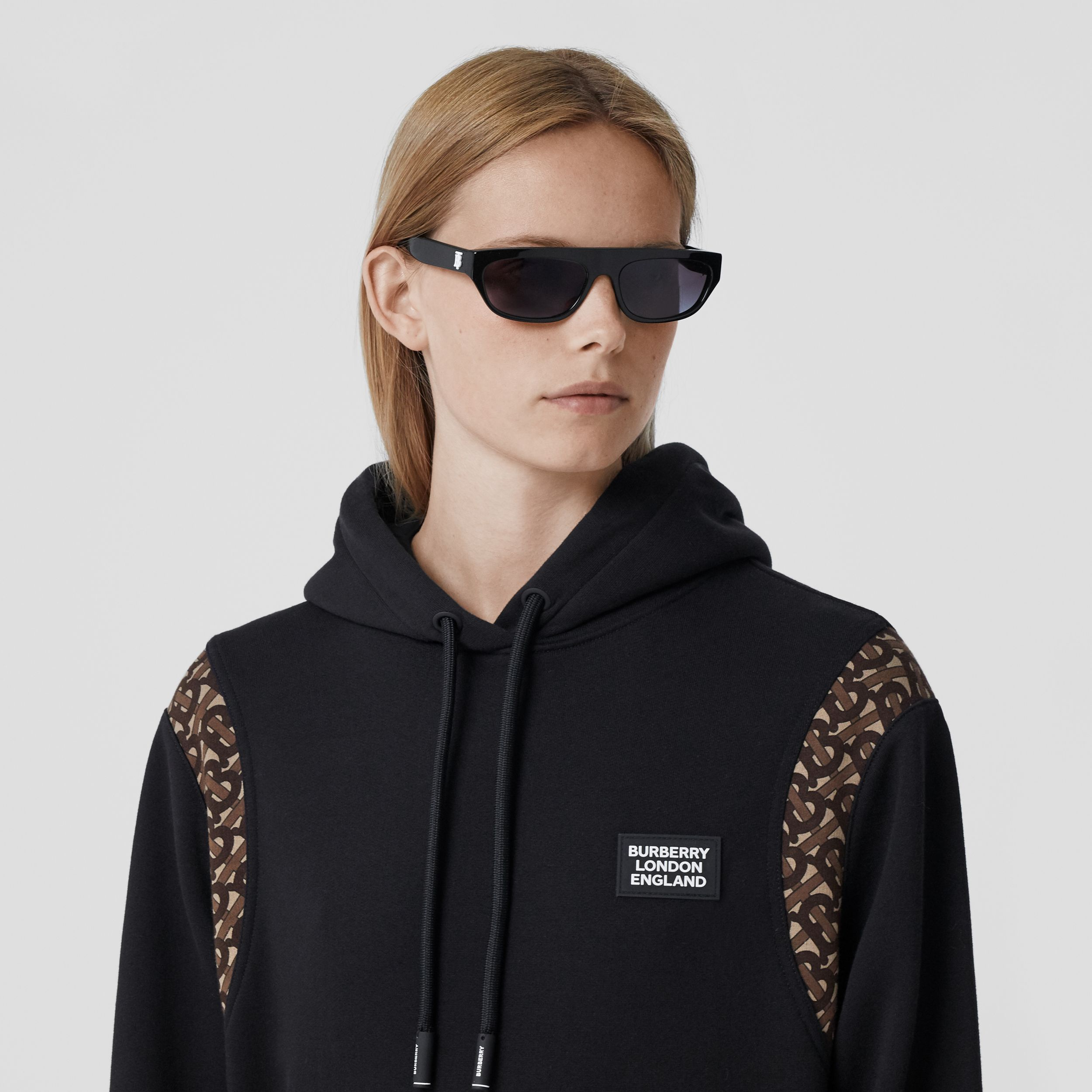 Monogram Print Panel Cotton Oversized Hoodie in Black - Women | Burberry - 2