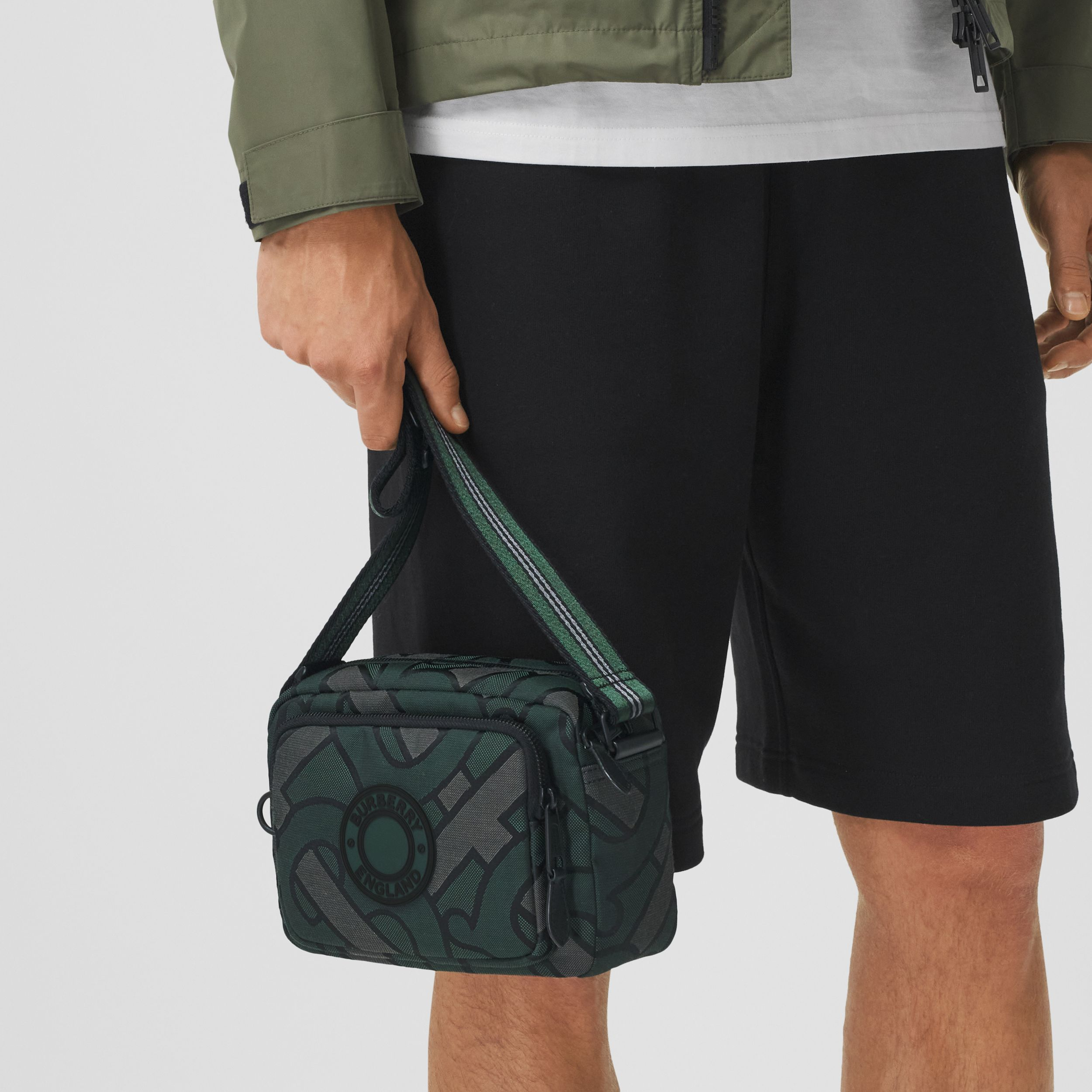 Monogram Recycled Polyester Crossbody Bag in Forest Green - Men | Burberry - 3