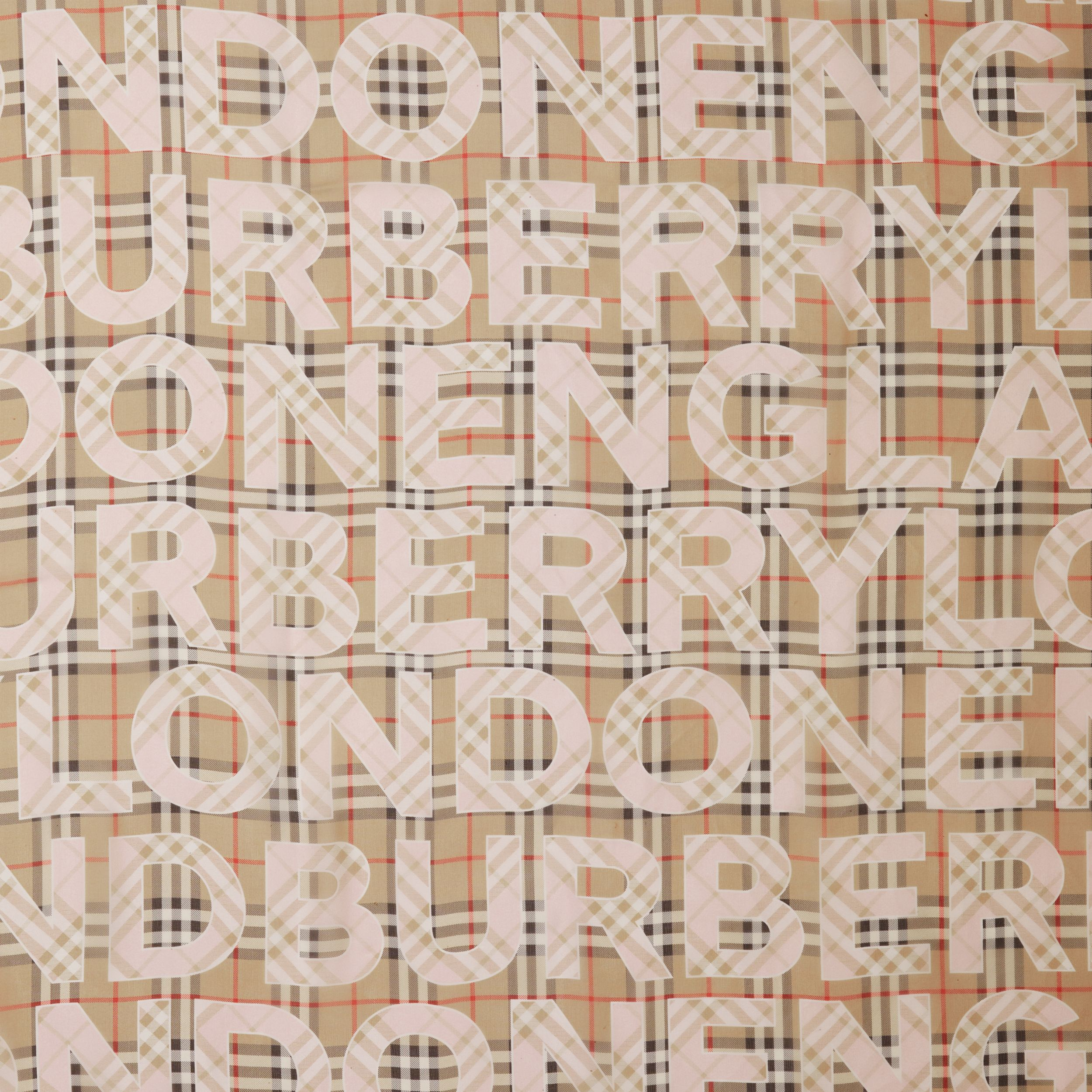 Vintage Check Logo Print Silk Chiffon Scarf in Alabaster Pink | Burberry - 2
