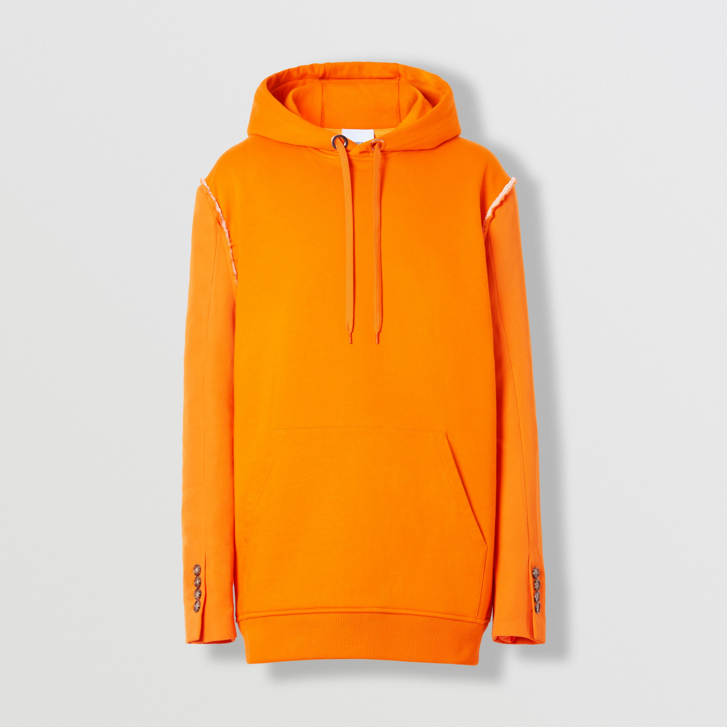 Cotton and Wool Reconstructed Hoodie in Deep Orange - Men | Burberry United Kingdom - 4