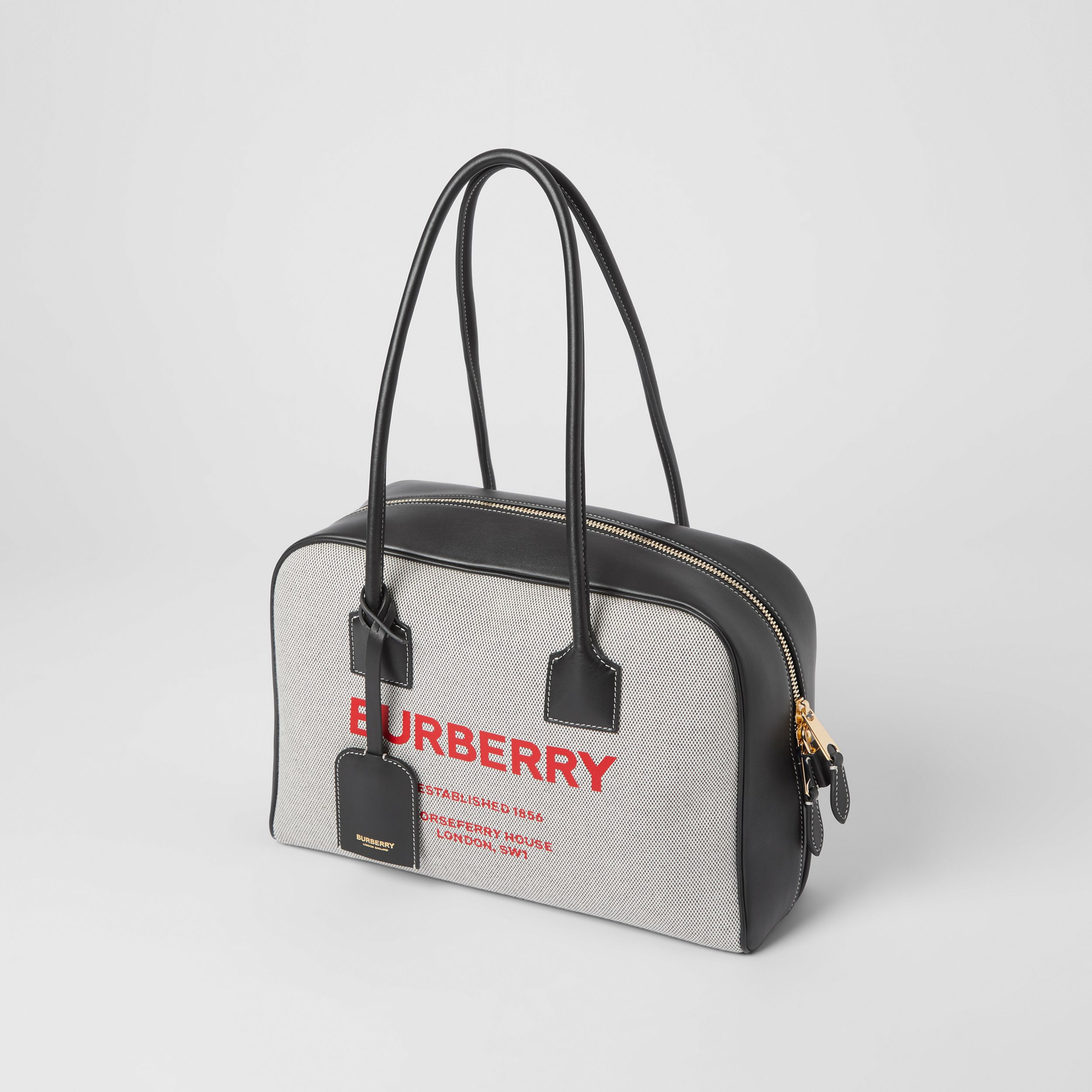 Medium Horseferry Print Cotton Canvas Half Cube Bag in Black/black/fiery Red - Women | Burberry Australia - 4