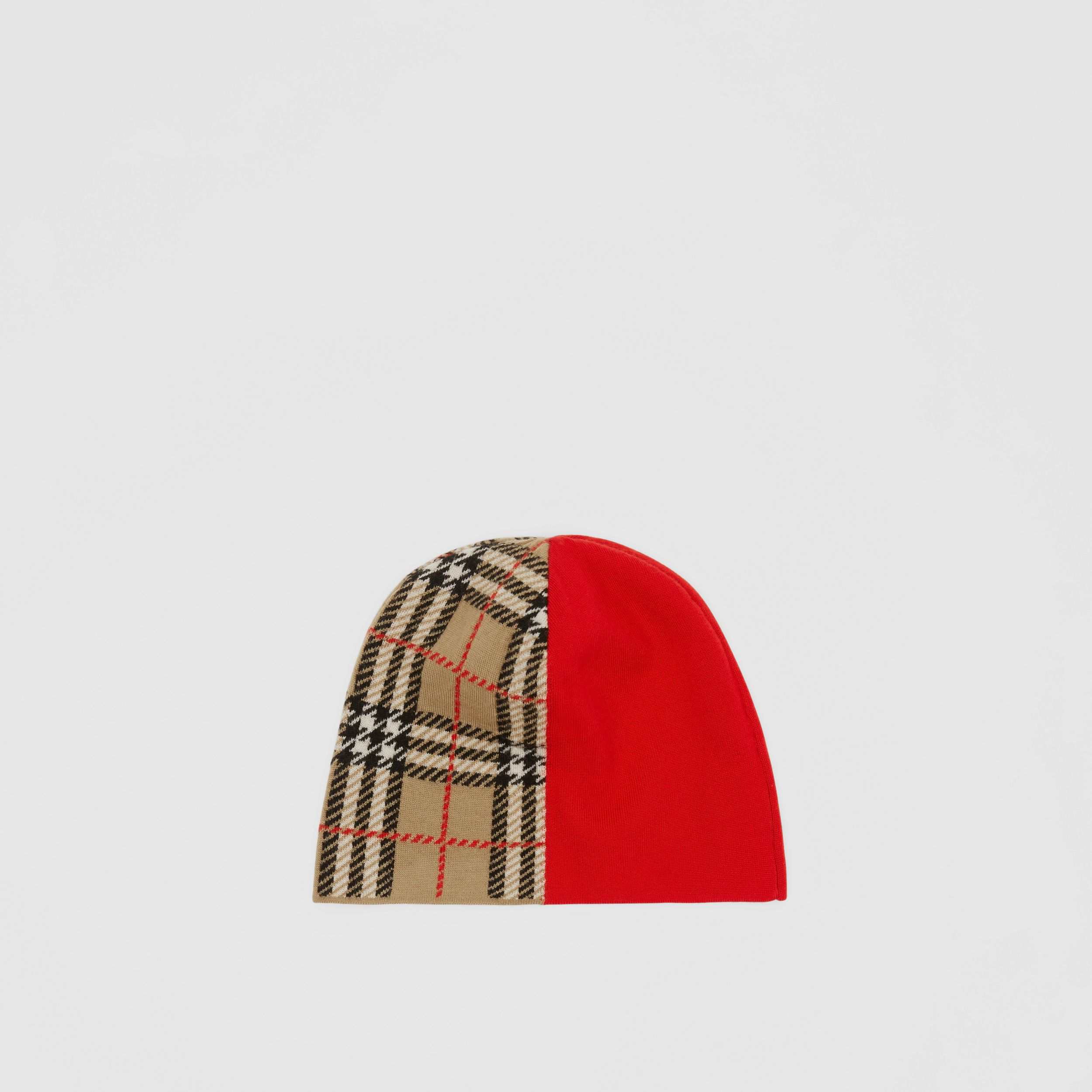 Colour Block Check Merino Wool Jacquard Beanie in Bright Red - Children | Burberry - 3