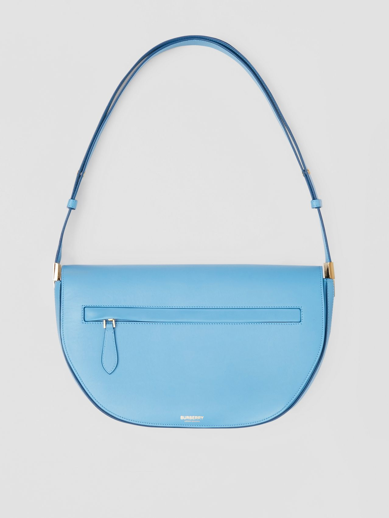 Medium Leather Olympia Bag in Blue Topaz