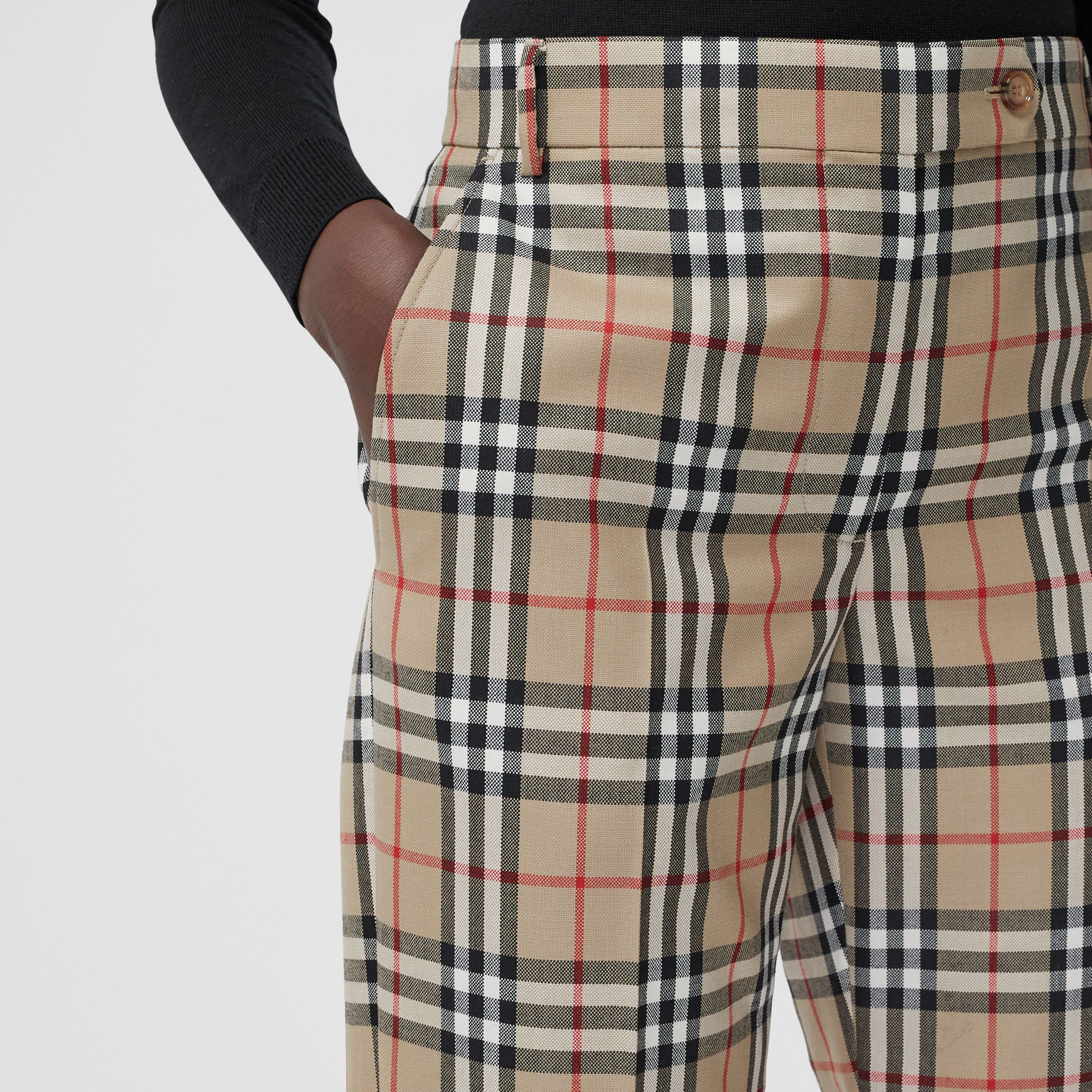Vintage Check Wool Tailored Trousers in Archive Beige - Women | Burberry - 2