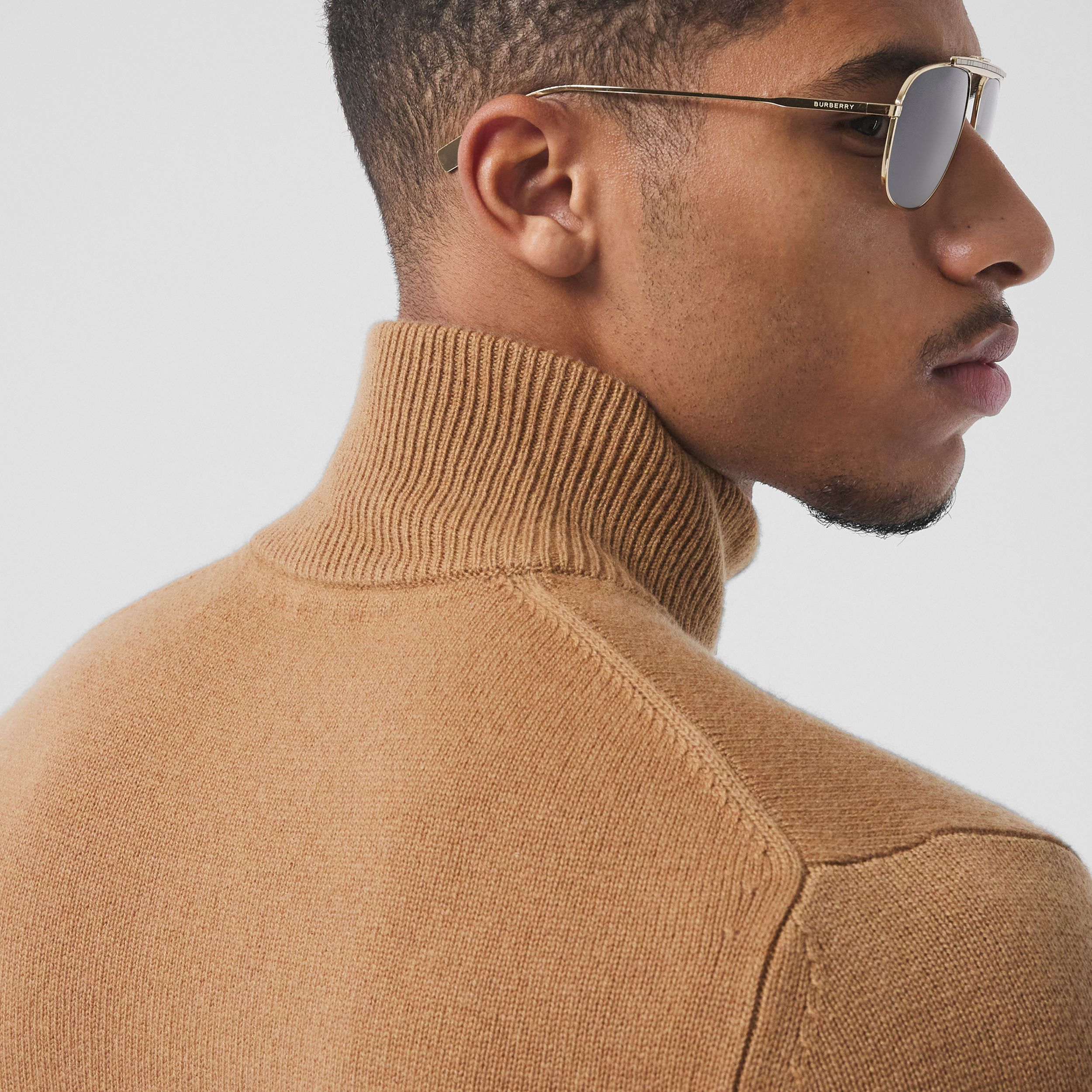 Monogram Motif Cashmere Funnel Neck Sweater in Camel - Men | Burberry - 2