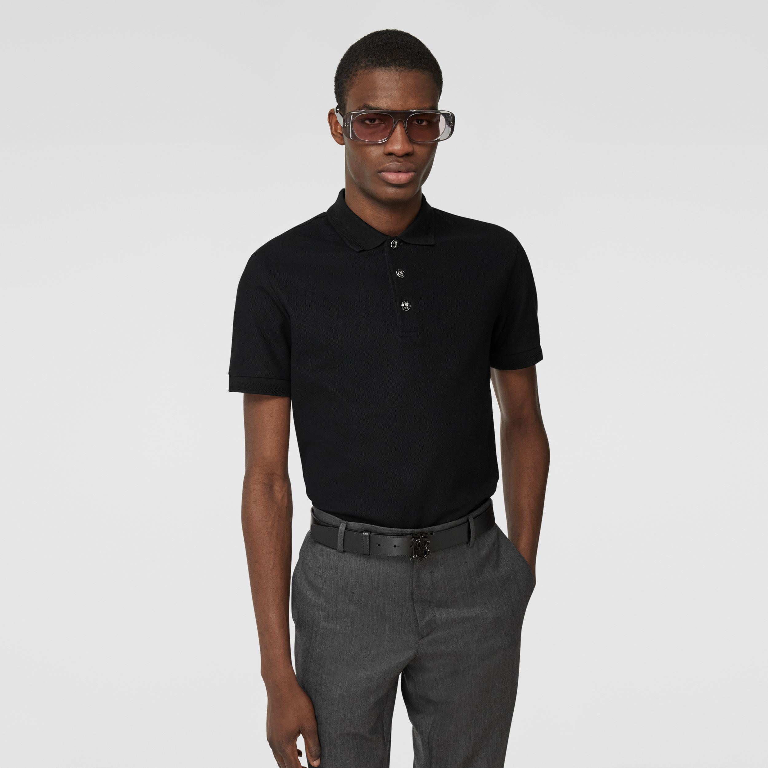 Cotton Piqué Polo Shirt in Black - Men | Burberry - 1