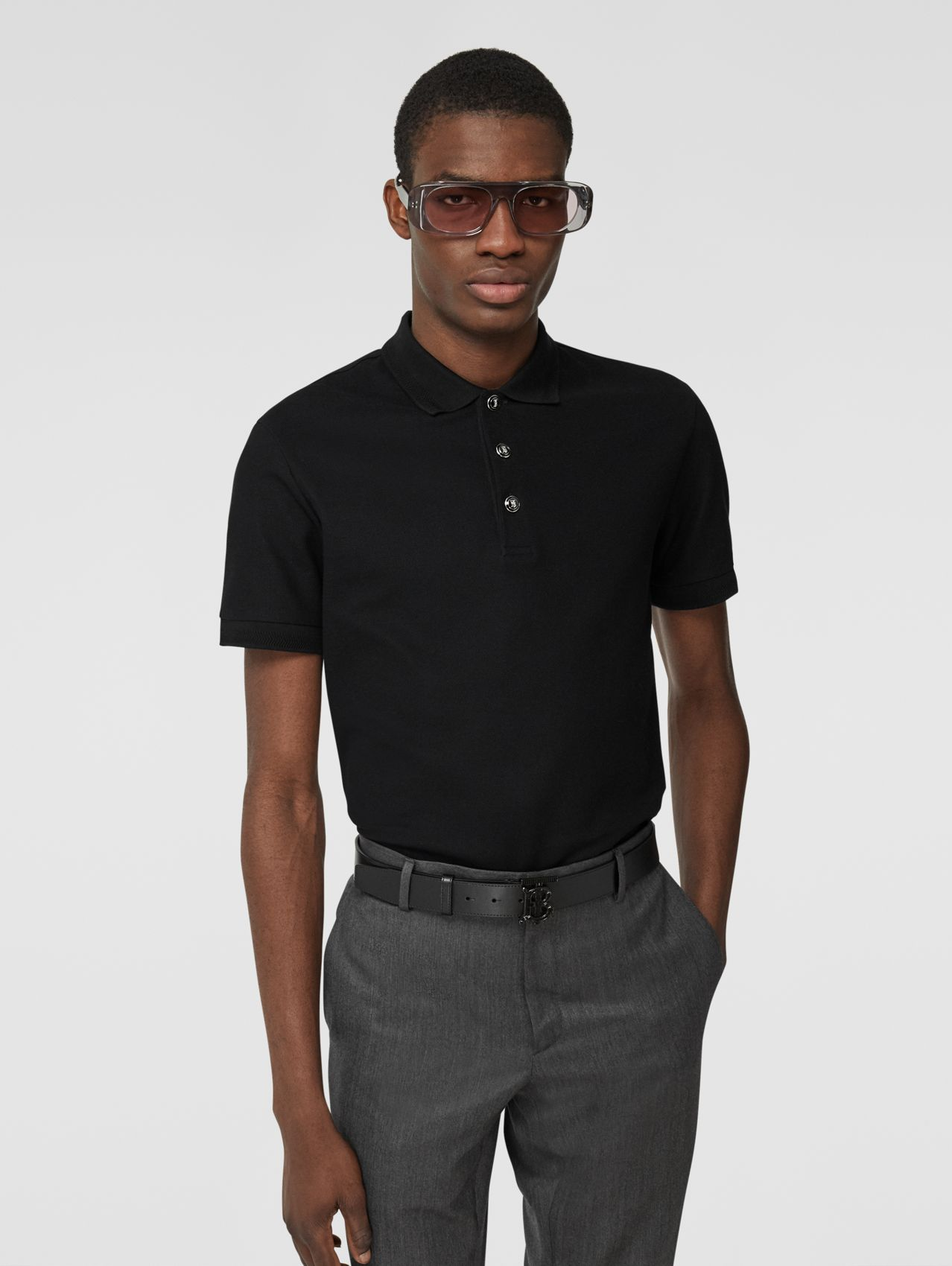 Cotton Piqué Polo Shirt (Black)