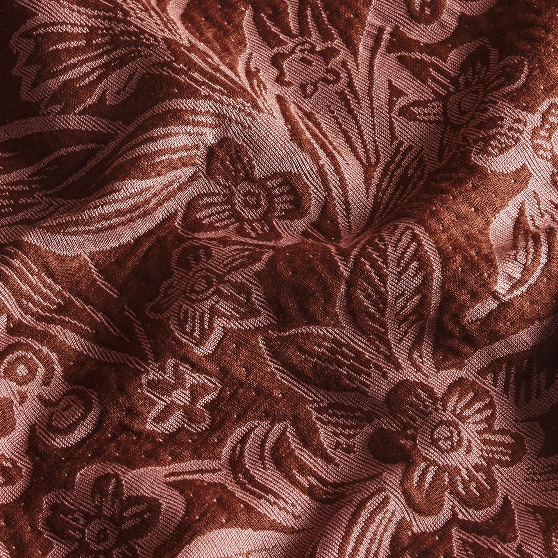 Granata Pullover in misto cotone e lana con motivo floreale in jacquard - immagine della galleria 2