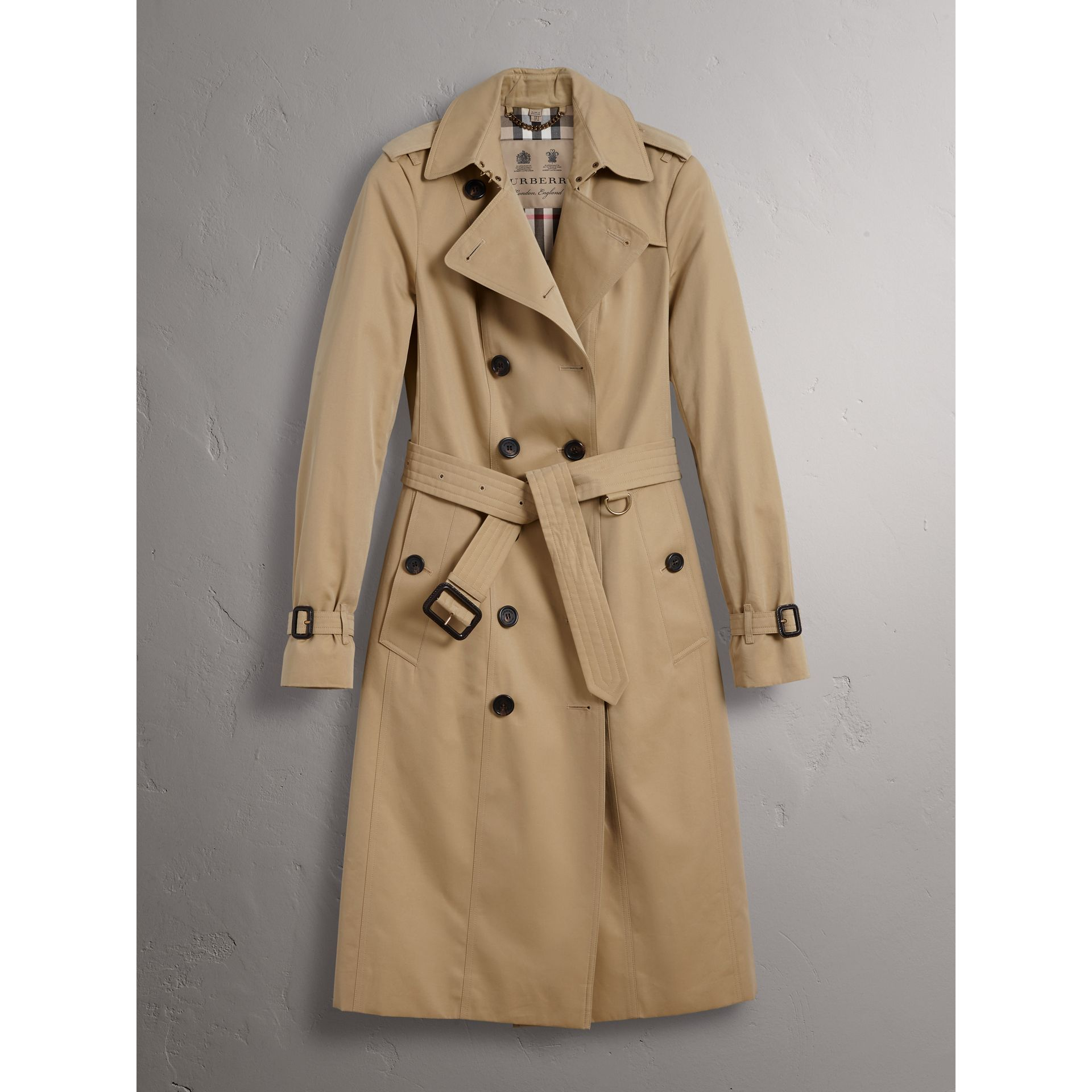 the sandringham extra long trench coat in honey women burberry united kingdom. Black Bedroom Furniture Sets. Home Design Ideas