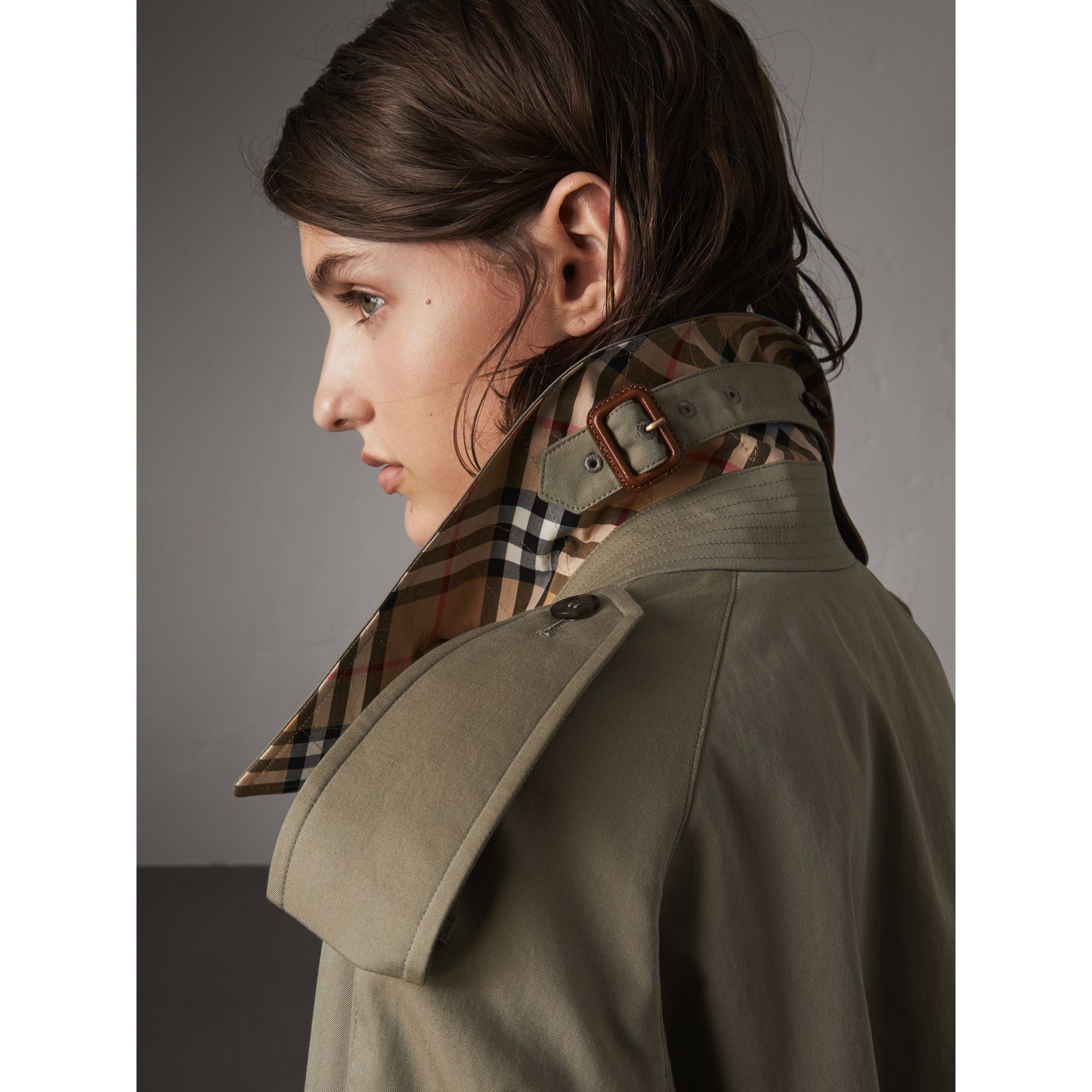 Side-slit Tropical Garbadine Trench Coat in Chalk Green - Women | Burberry - gallery image 1