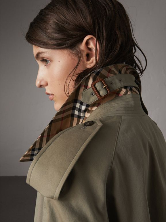 Side-slit Tropical Gabardine Trench Coat in Chalk Green - Women | Burberry Canada - cell image 1
