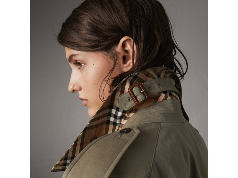 Side-slit Tropical Garbadine Trench Coat in Chalk Green - Women | Burberry - cell image 1
