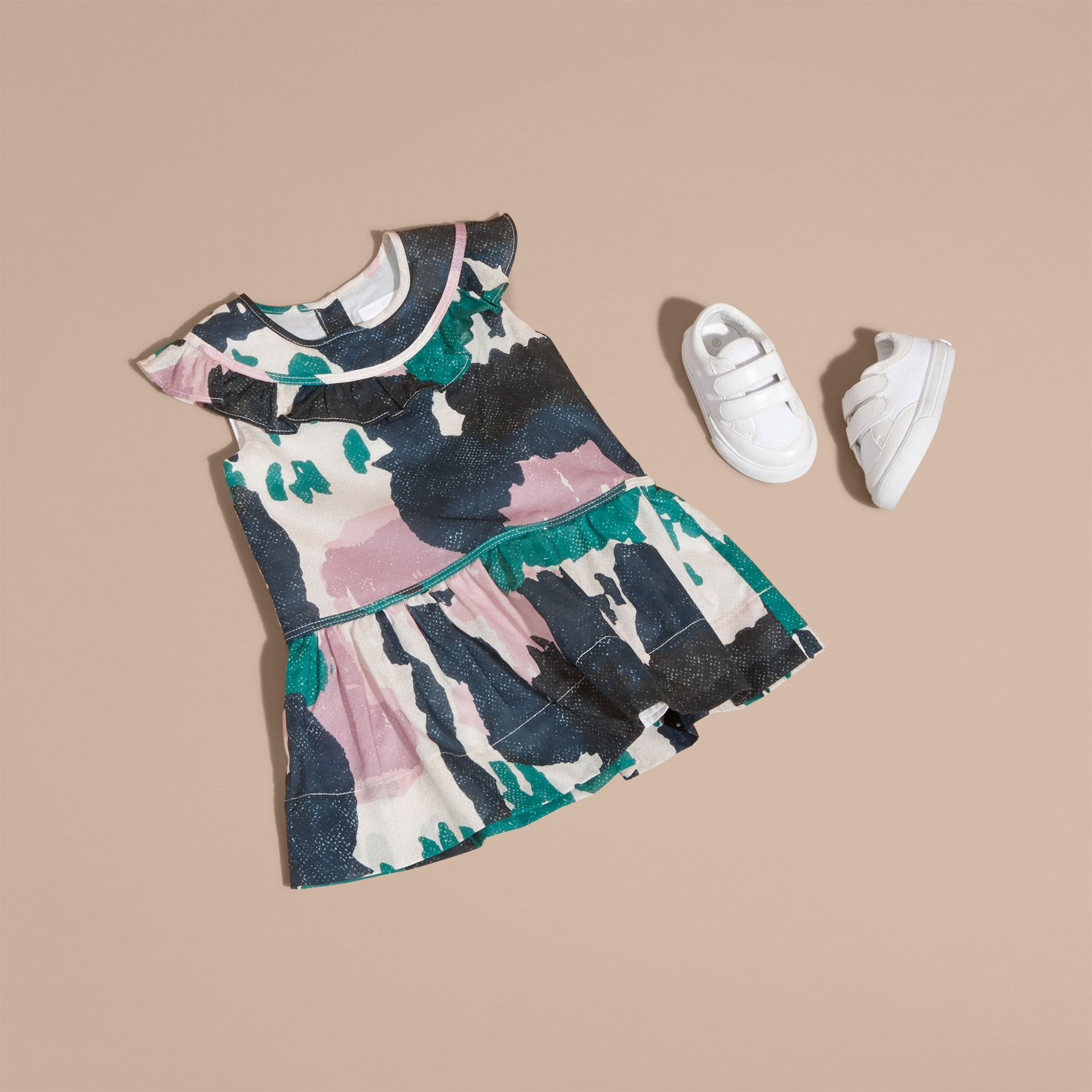 Teal green Painterly Print Ruffle Trim Cotton Dress - gallery image 5