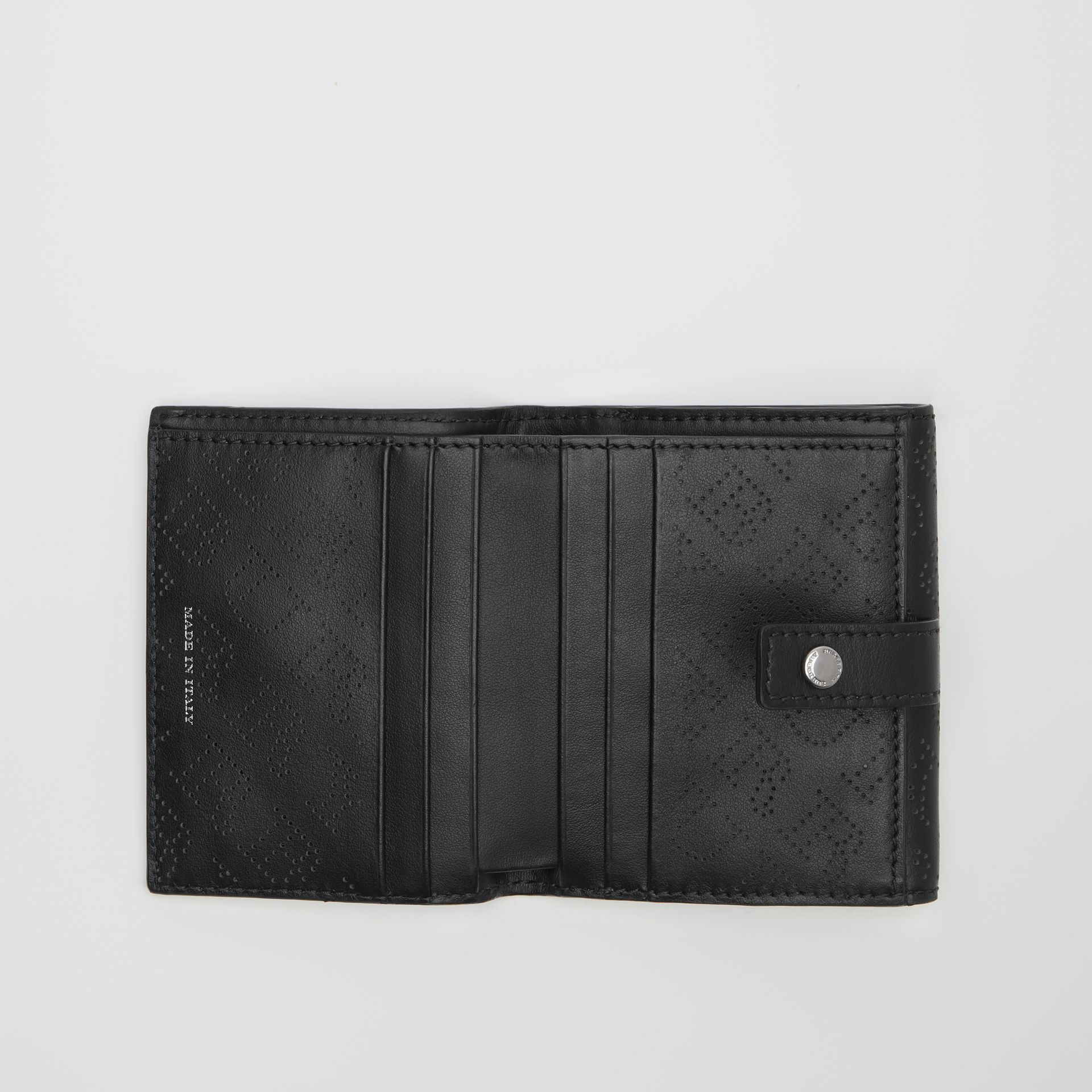 Small Perforated Logo Leather Wallet in Black - Women | Burberry United States - gallery image 3