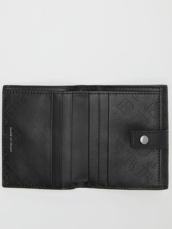 Small Perforated Logo Leather Wallet in Black - Women | Burberry - cell image 3