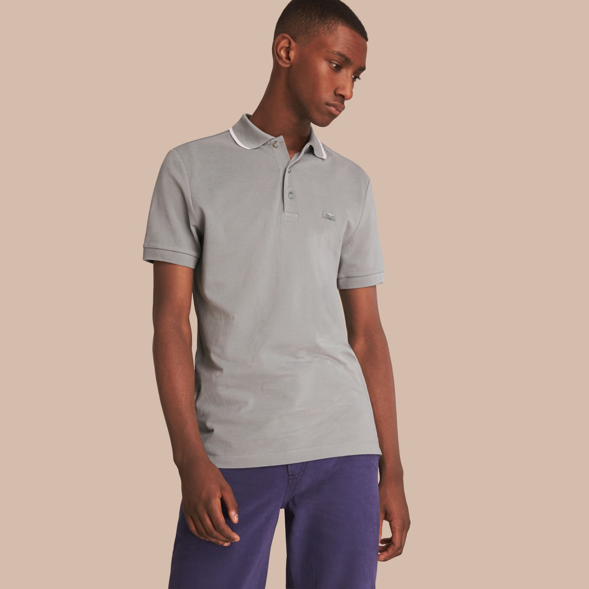 Tipped Collar Cotton Piqué Polo Shirt in Mist Grey - gallery image 1