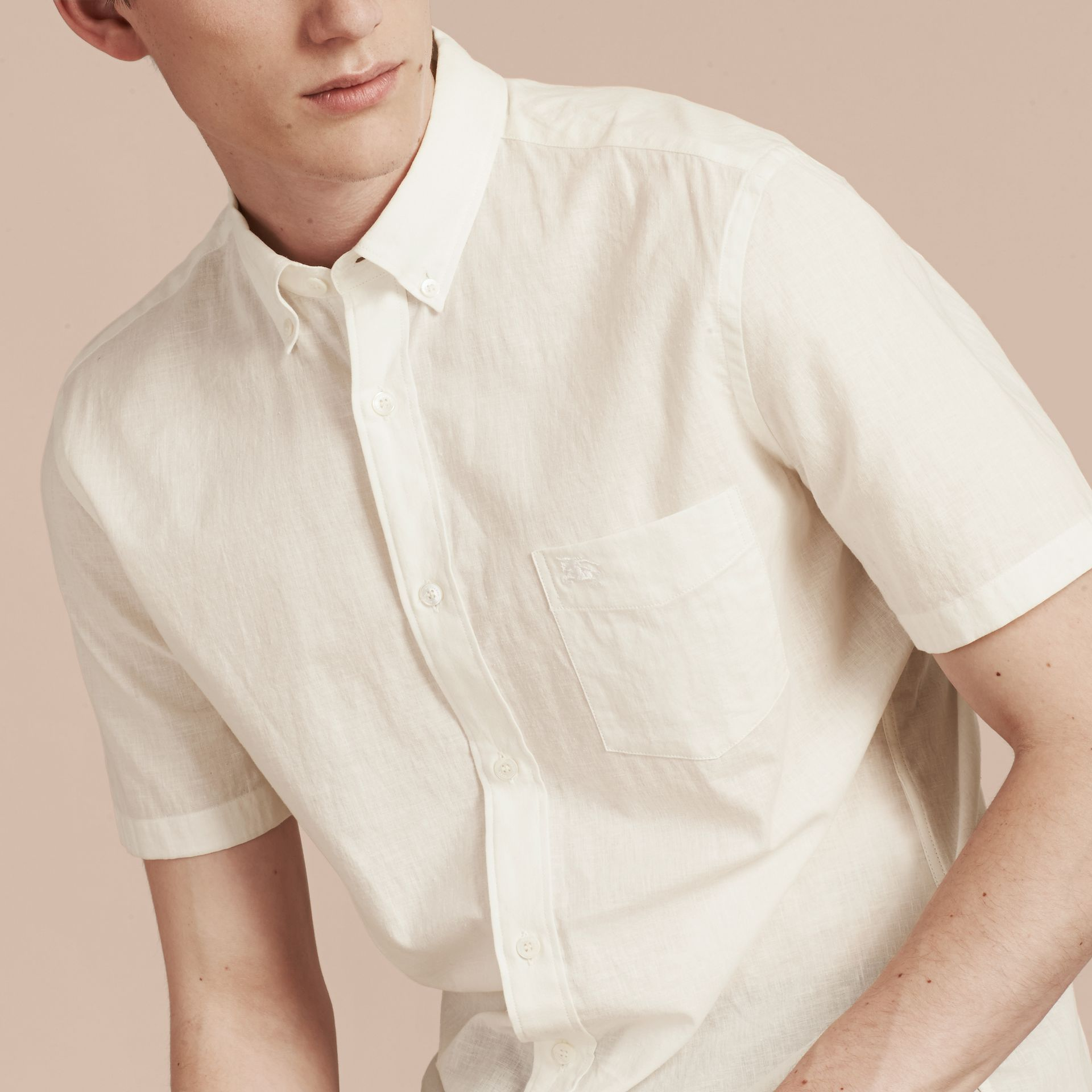 White Short-sleeved Stretch Cotton Poplin Shirt White - gallery image 5