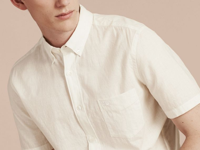 White Short-sleeved Stretch Cotton Poplin Shirt White - cell image 4
