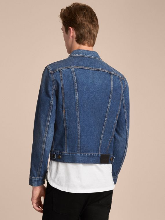 Zip-front Cropped Denim Jacket - Men | Burberry - cell image 2