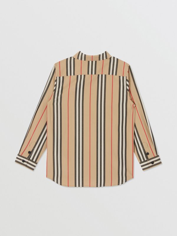 Icon Stripe Cotton Poplin Shirt in Archive Beige | Burberry United Kingdom - cell image 3