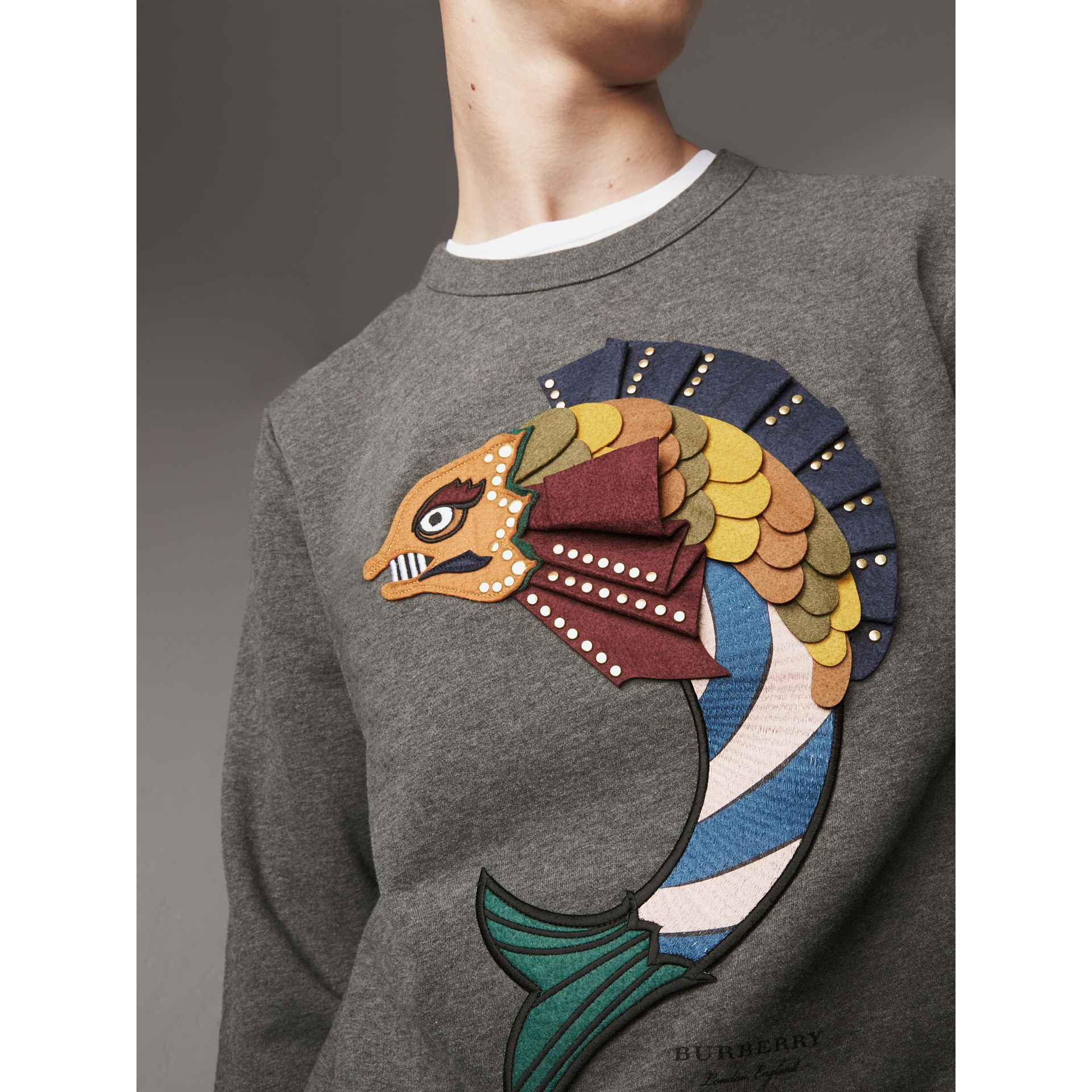 Beasts Appliqué Cotton Sweatshirt in Mid Grey Melange - Men | Burberry - gallery image 2