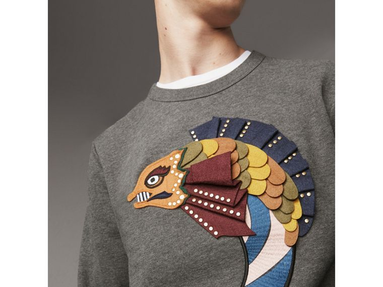 Beasts Appliqué Cotton Sweatshirt in Mid Grey Melange - Men | Burberry - cell image 1