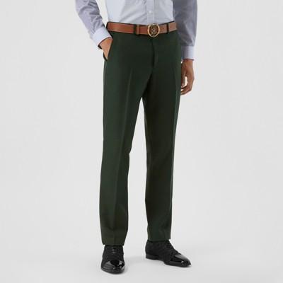 Pantaloni sartoriali dal taglio classico in lana e mohair (Verde Foresta Scuro) Uomo   Burberry