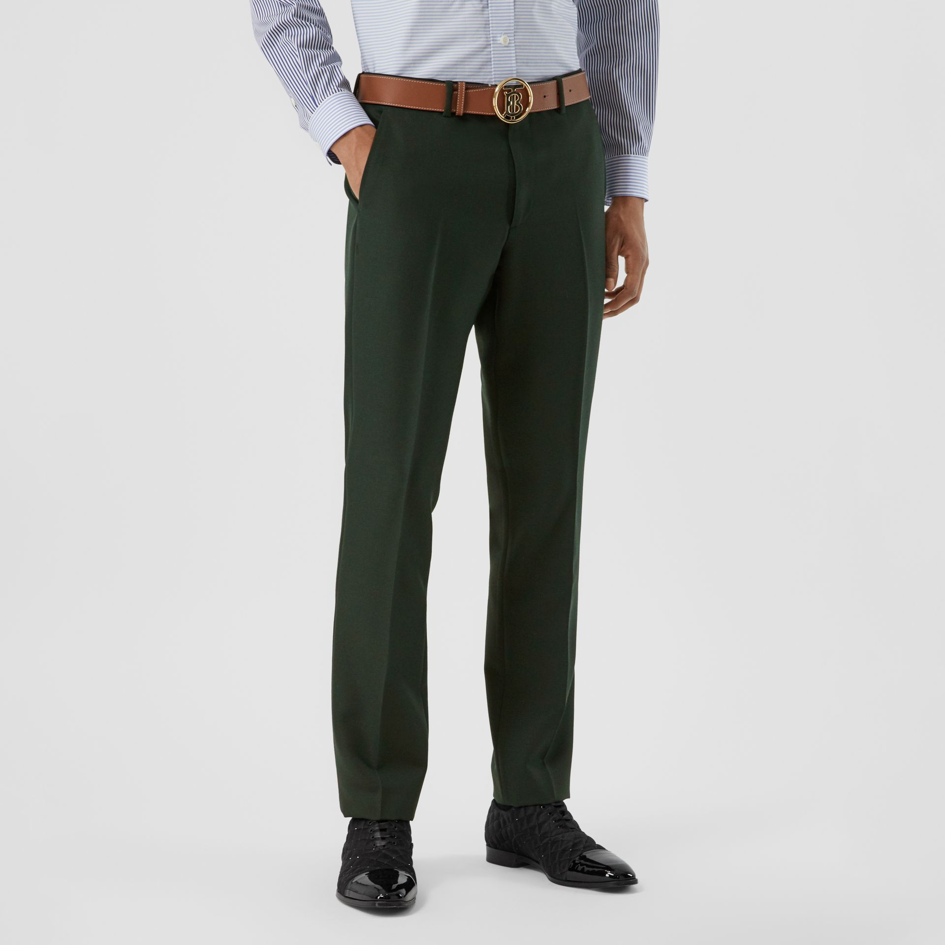 Classic Fit Wool Mohair Tailored Trousers in Dark Forest Green - Men | Burberry - gallery image 5