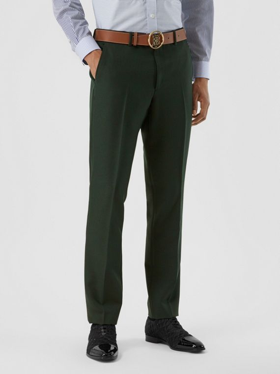 Classic Fit Wool Mohair Tailored Trousers in Dark Forest Green