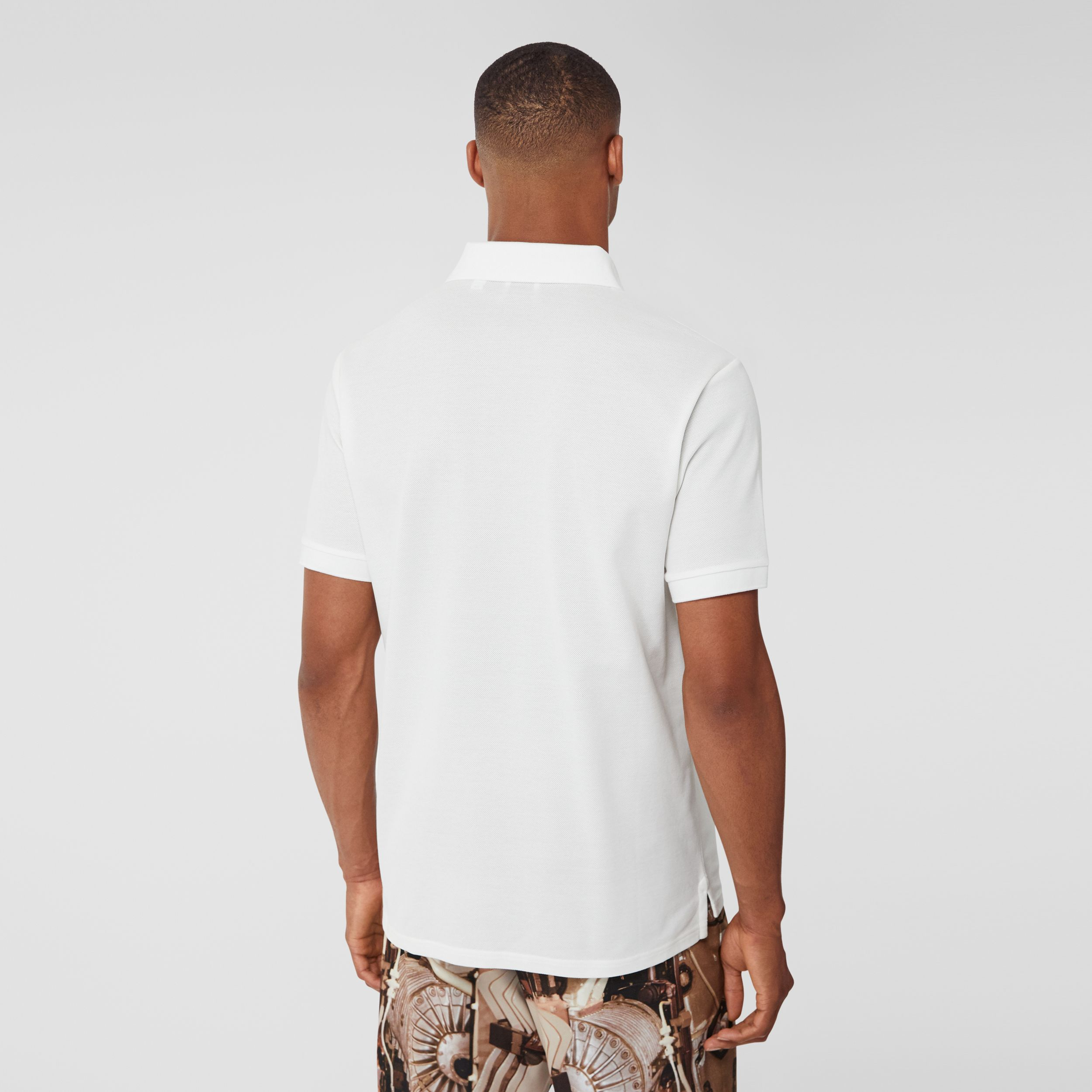 Monogram Motif Cotton Piqué Oversized Polo Shirt in White - Men | Burberry - 3