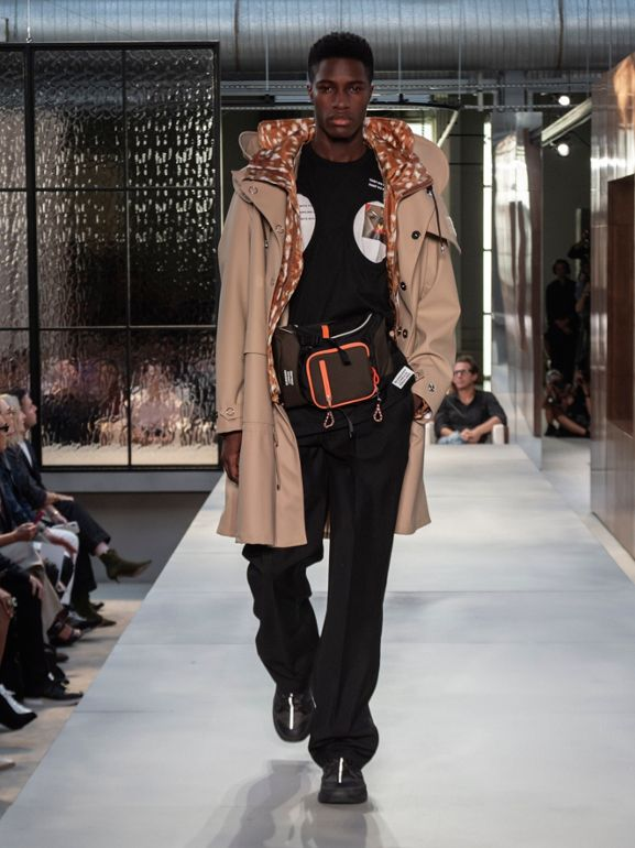 Deer Print Nylon Hooded Jacket in Honey - Men | Burberry Australia - cell image 1