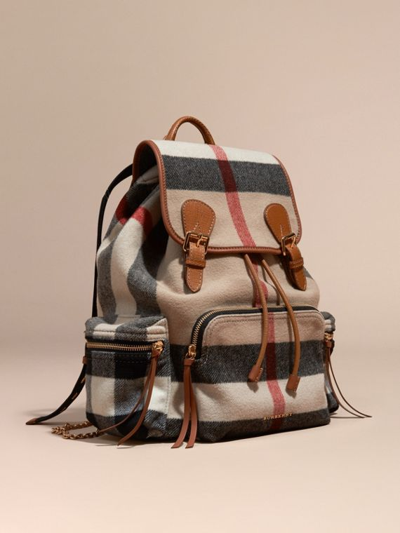 Zaino The Rucksack grande in misto lana con motivo check e dettagli in pelle